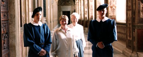 Dr. Mary Berry and Olive Simpson (soprano) escorted by Swiss Guards in the Vatican.