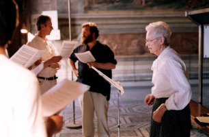 Dr. Mary Berry with the choir, photographed during rehersals in June 1999