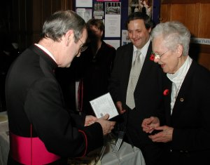 Dr. Mary Berry talking with Monsignor George Stack at the 'Towards Advent' Festival, Westminster Cathedral.